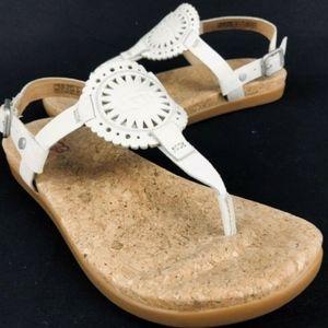 UGG Ayden II T-Strap White Leather Sandals 1094930